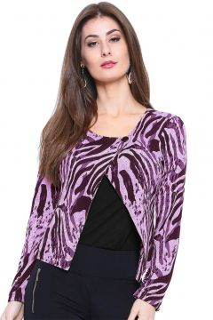 Casaco Estilo Boutique Plush Animal Print Roxo Estilo Bouti