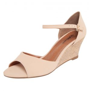 Sandália DAFITI SHOES Anabela Nude DAFITI SHOES