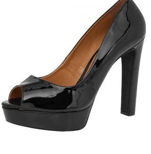 Peep Toe DAFITI SHOES Meia-Pata Preto DAFITI SHOES