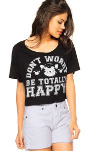 Blusa Manga Curta Groovy Forever Cropped Stamp Happy Preta