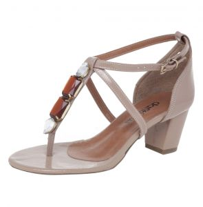 Sandália DAFITI SHOES Pedraria Nude DAFITI SHOES