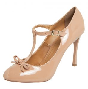 Scarpin DAFITI SHOES Laço Verniz Nude DAFITI SHOES