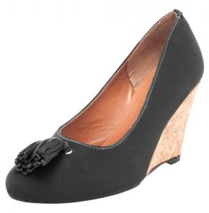 Scarpin DAFITI SHOES Anabela Tassel Preto DAFITI SHOES