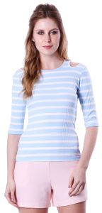 Blusa Open Shoulder A Colorida Manga 3/4 Listrado Azul A co