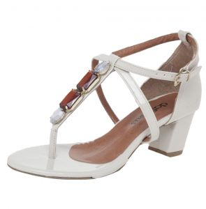 Sandália DAFITI SHOES Pedraria Off-White DAFITI SHOES