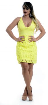 Vestido Dress Cool Guipir Flowers Amarelo Dress Cool