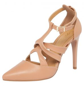 Scarpin DAFITI SHOES Recortes Bico Fino Nude DAFITI SHOES