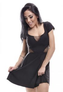 Vestido Curto Lost Waves Rodado Preto Lost Waves