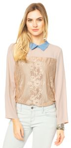 Camisa Mooncity Renda Nude Mooncity