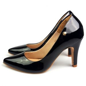 Scarpin Love Shoes Bico Fino Alto Verniz Preto Love Shoes
