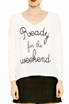 Blusa Manga Longa Like It Ready For The Weekend Branca Like