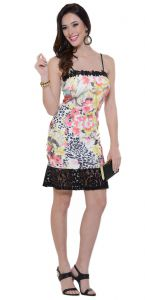 Vestido PKS Girl Renda Barra Estampado PKS GIRL