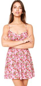Vestido Fitwell Curto Floral Rosa Fitwell