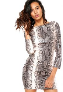 Vestido Holin Stone Animal Print Bege/Preto Holin Stone