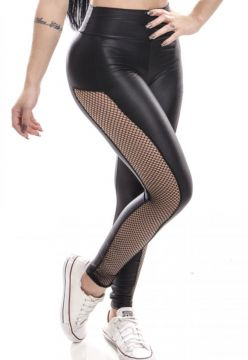 Calça Legging Lost Waves tule lateral Preto Lost Waves