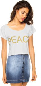 Blusa Pink Connection Peace Branca Pink Connection