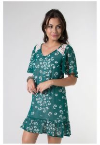 Vestido Mercatto Estampado Solto Verde Escuro Mercatto