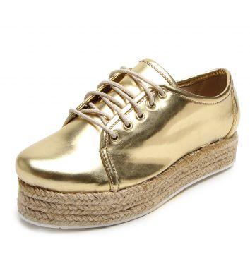 Oxford DAFITI SHOES Flatform Espadrille Metalizado Dourado
