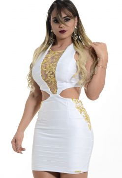 Vestido Dress Cool em Bandagem Gold Branco Dress Cool