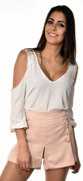 Blusa Manga Curta Banca Fashion Casual Chique Off-White Ban