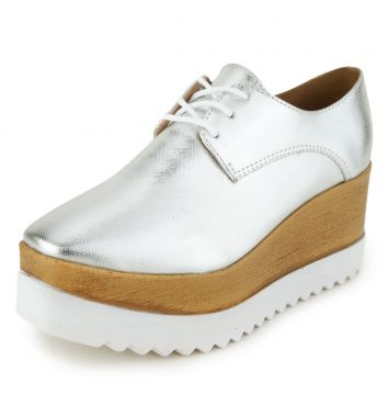 Oxford DAFITI SHOES Plataforma Tratorado Prata DAFITI SHOES