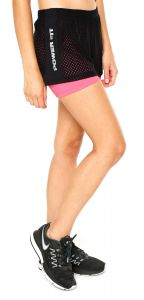 Short Power Fit Run Preto/Rosa Power Fit