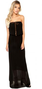 Vestido Longo Preto Facinelly Liso Preto Facinelli by MOONC