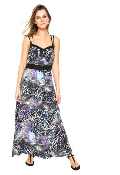 Vestido Facinelli by MOONCITY Longo Animal Print Roxo/Preto