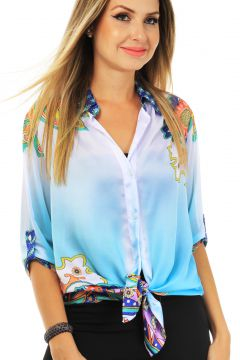 Camisa 101 Resort Wear Estampada Azul Claro 101 Resort Wear