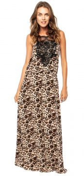 Vestido Longo Facinelli Animal Print Bege Facinelli by MOON