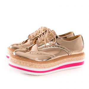 Oxford Espadrille Casual Happy Walk Ouro Pink Happy Walk