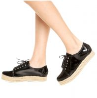 Oxford DAFITI SHOES Flatform Espadrille Preto DAFITI SHOES