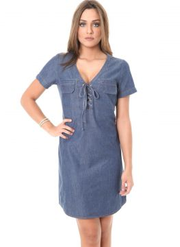 Vestido Liso Jeans Miss Joy Chemise azul denim Miss Joy