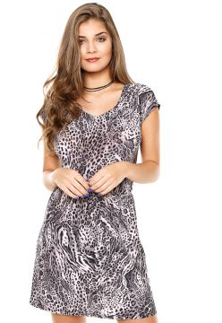 Vestido Top Rock Curto Animal Preto/Cinza Top Rock