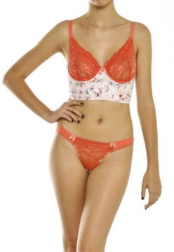 Calcinha e Sutiã Holidays Intimates Butterfly Coral Holiday
