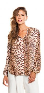 Blusa Sly Wear Animal Print Marrom Sly Wear