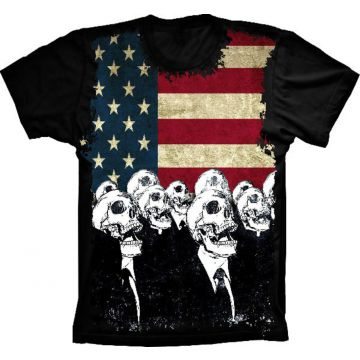 Camiseta Baby Look Lu Geek Flag Usa Skulls Preto Lu Geek