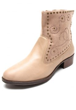 Bota DAFITI SHOES Cano Curto Tachas Bege DAFITI SHOES