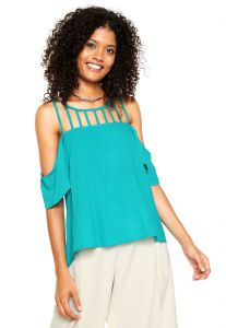 Blusa Holin Stone Recortes Verde Holin Stone