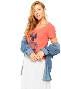Blusa Holin Stone Estampada Coral Holin Stone