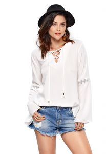 Camisa Modisch Lace Up Guipure Off White Modisch