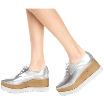 Oxford Flatform DAFITI SHOES Tratorado Prata DAFITI SHOES