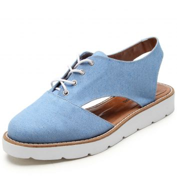 Oxford Flatform DAFITI SHOES Aberto Azul DAFITI SHOES