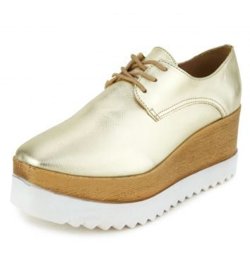 Oxford Flatform DAFITI SHOES Tratorado Dourado DAFITI SHOES