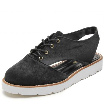 Oxford Flatform DAFITI SHOES Aberto Preto DAFITI SHOES