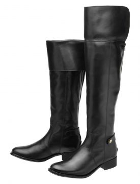 Bota Encinas Leather Montaria Over Knee Preta Encinas Leath