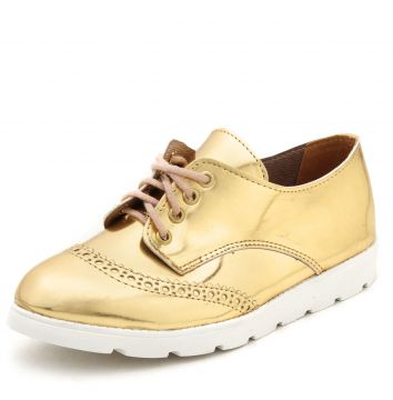 Oxford Flatform DAFITI SHOES Wingtip Dourado DAFITI SHOES