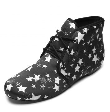 Bota DAFITI SHOES Estampa Estrela Preto DAFITI SHOES