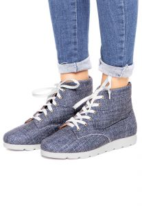 Bota Flatform DAFITI SHOES Jeans Azul DAFITI SHOES