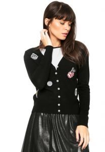 Cardigan Facinelli by MOONCITY Patches Preto Facinelli by M